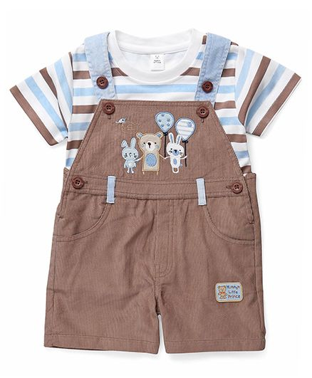 ToffyHouse Dungaree With Striped T-Shirt - Blue Brown