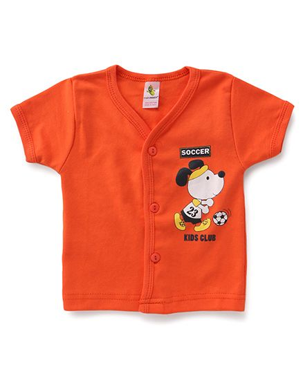 Cucumber Half Sleeves Vest Puppy Print - Orange