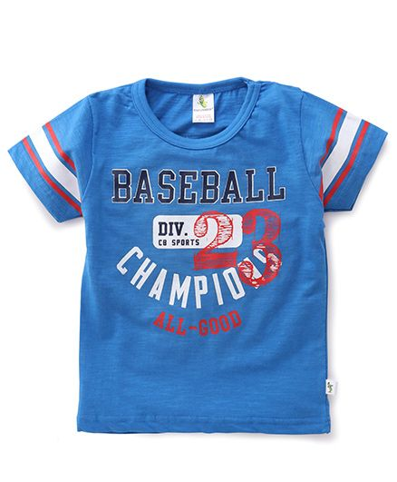 Cucumber Half Sleeves Baseball Print T-Shirt - Blue