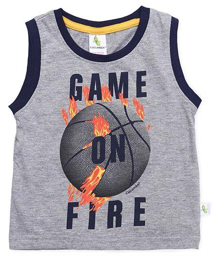 Cucumber Sleeveless T-Shirt Game On Fire Print - Light Grey