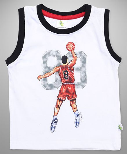 Cucumber Sleeveless Tee Numeric 8 & Basketball Player Print - White & Black