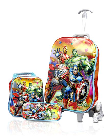 Baby Oodles Avengers Trolley Bag Combo Multi Color - 16.9 inches