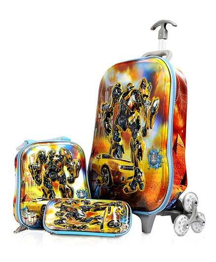 Baby Oodles Transformers Trolley Bag Combo Multi Color - 16.9 inches