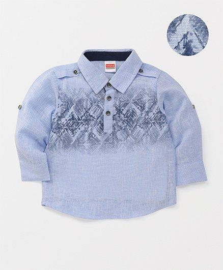 Babyhug Full Sleeves Printed Shirt - Light Blue