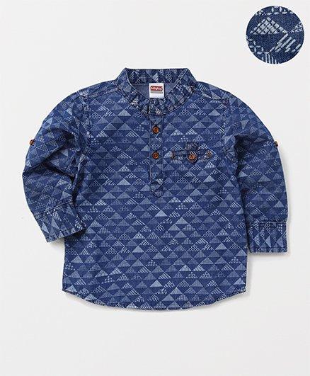 Babyhug Full Sleeves Denim Printed Shirt - Blue