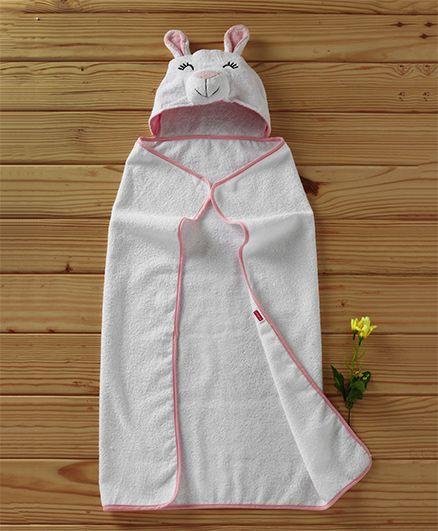 Babyhug Hooded Terry Cotton Towel Animal Design - White