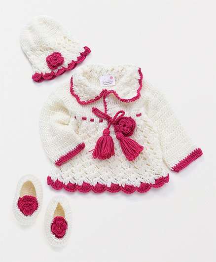 The Original Knit Crochet Flower Design Dress With Cap & Booties - Off White & Magenta