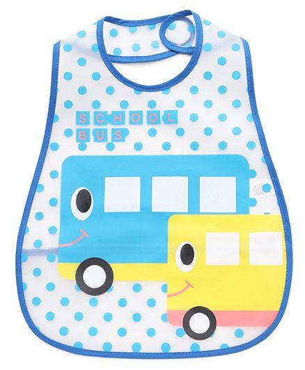 Babyhug Bib School Bus Print - White Blue