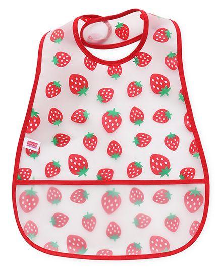 Babyhug Bib Strawberry Print - White Red