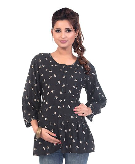 Kriti Three Fourth Sleeves Maternity Tunic Floral Print - Black