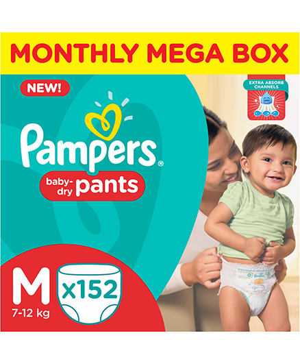 Pampers Pants Monthly Mega Box Baby Diapers, M 152 Pieces