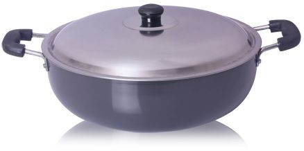 Anjali - Hard Anodised - Deep Kadai with Lid - No. 15