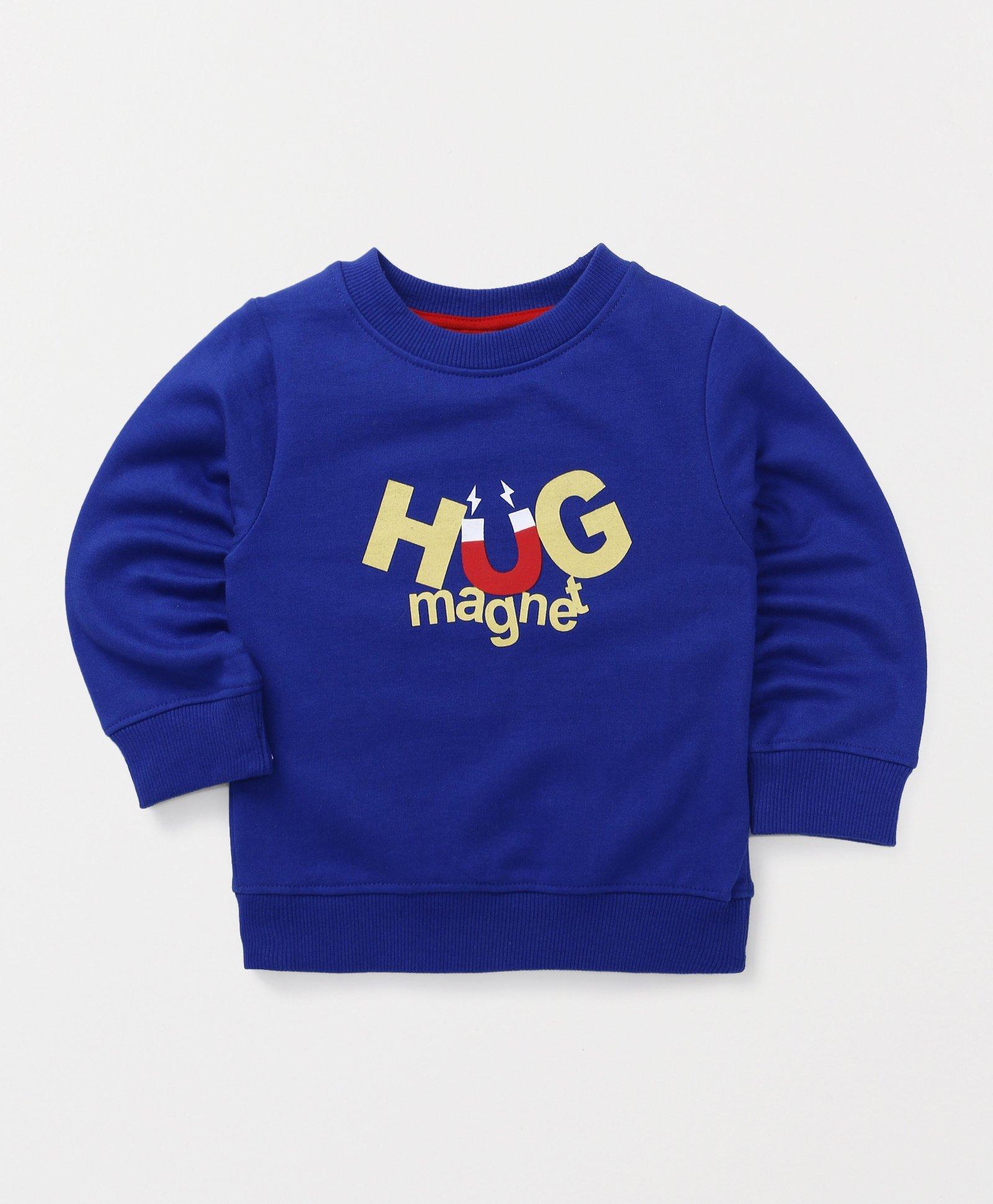 Babyhug Full Sleeves Pullover Sweatshirt Hug Magnet Print - Blue