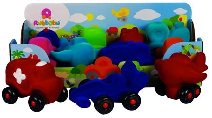 Rubbabu Natural Foam Little Vehicles Assortment - Display of 8
