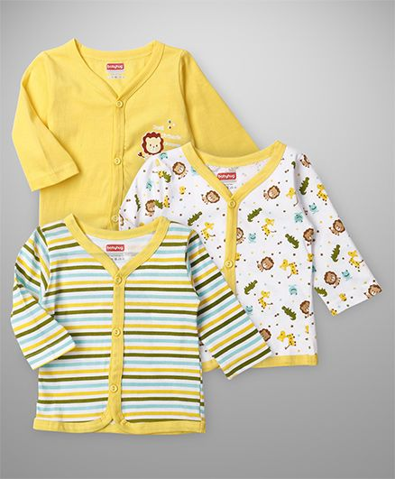 Babyhug Full Sleeves Vests Lion Print Set Of 3 - Yellow