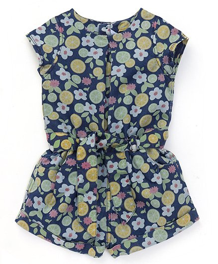 ToffyHouse Short Sleeves Denim Jumpsuit Floral & Fruit Print - Navy