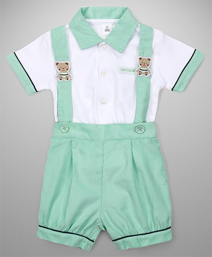 ToffyHouse Dungaree With Shirt Teddy Patch - Green White