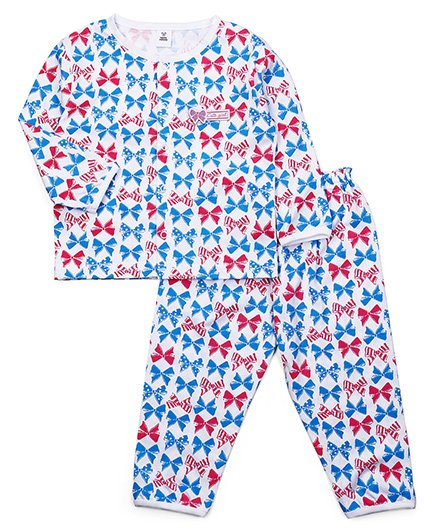 ToffyHouse Full Sleeves Night Suit All Over Bow Print - White Blue & Pink