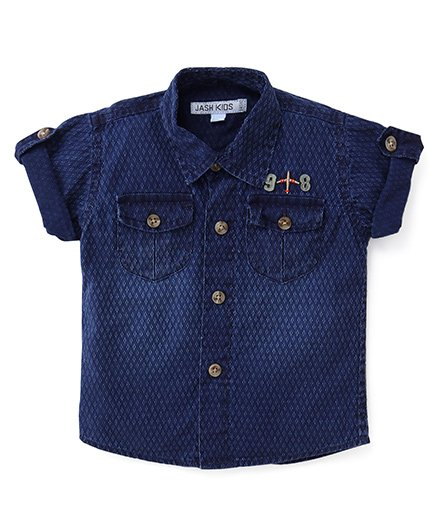 Jash Kids Half Sleeves Printed Denim Shirt - Blue