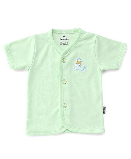 Child World Half Sleeves Vest Giraffe Print - Mint Green