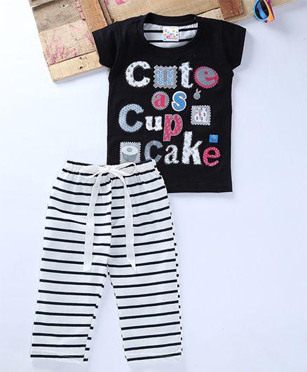 Eimoie Cute As Cupcake Print Tee & Striped Pant Set - Black & White