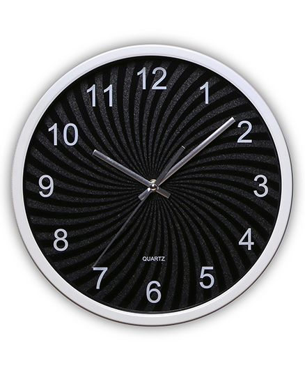 EZ Life Swirl Dial Clock - Black & Silver