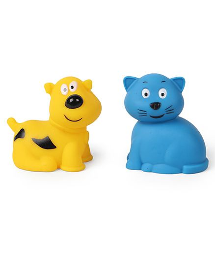 Giggles Animal Shaped Squeaky Bath Toys Pack Of 2 - Yellow & Blue