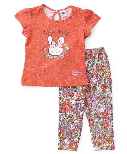 Teddy Short Sleeves Printed Capri Night Suit - Coral