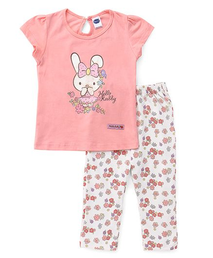 Teddy Short Sleeves Printed Capri Night Suit - Light Pink