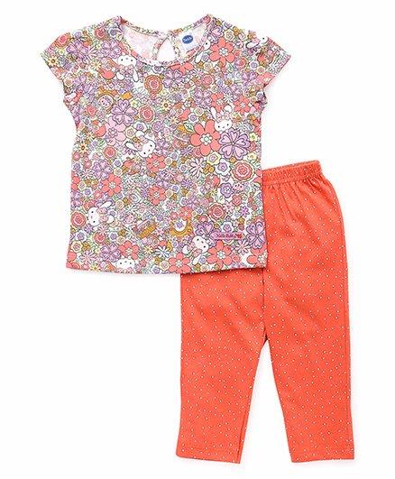 Teddy Short Sleeves Printed Capri Night Suit - Orange Multi