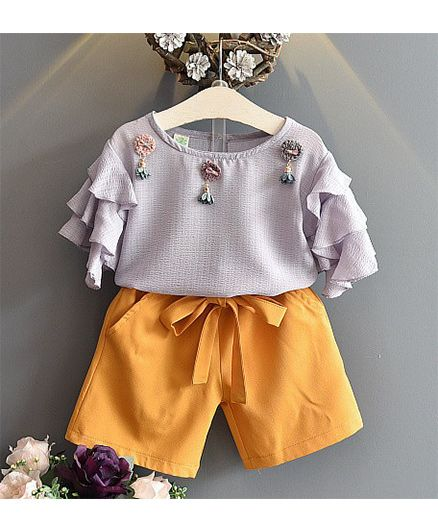 Pre Order - Awabox Ruffled Sleeves Top & Pants - Purple & Yellow