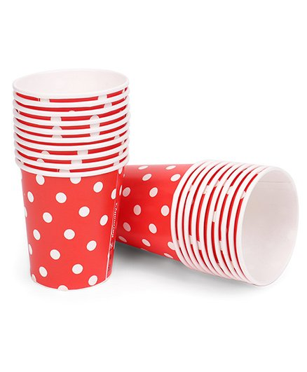Karmallys Paper Cups Polka Dots Print Pack of 20 - Red