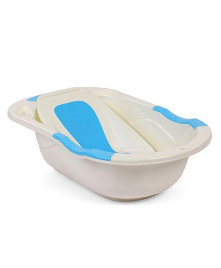 Babyhug Baby Bath Tub With Tray - White & Blue