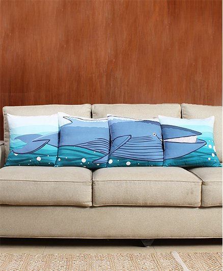 HouseThis The Puzzled Whale Pure Cotton Set Of 4 Cushion Covers - Blue