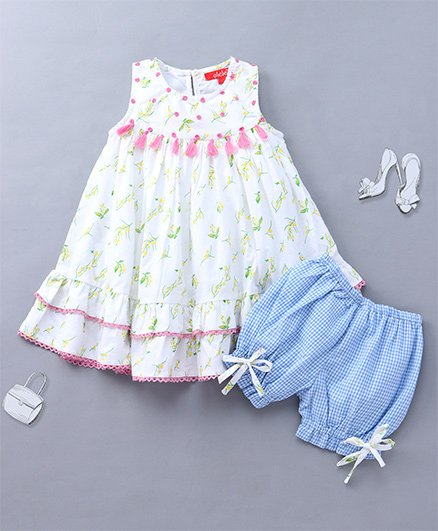 c06a4746cb7 Olele Printed Dress With Tassels   Bloomer - White