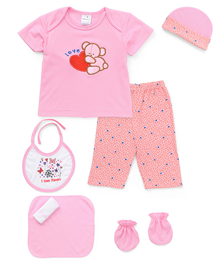 Cloth Gift Set Bear Patch 7 Pieces - Pink