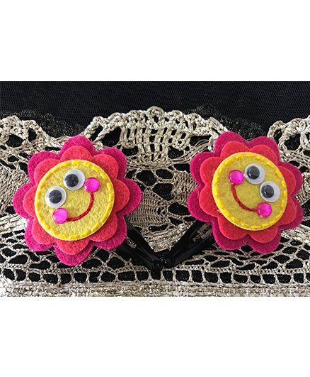 Kalacaree Smiley Design Hair Clips - Dark Pink & Yellow