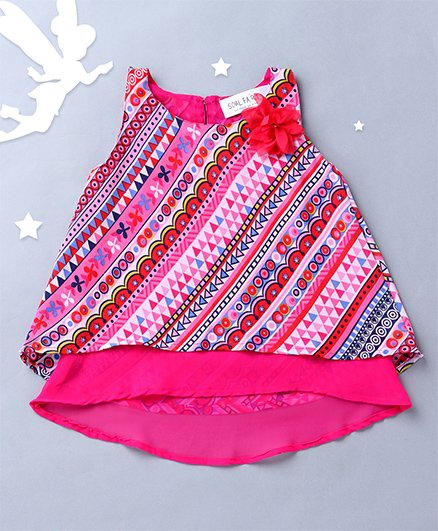 Soul Fairy Printed Layered Top Cut With A Fall - Pink