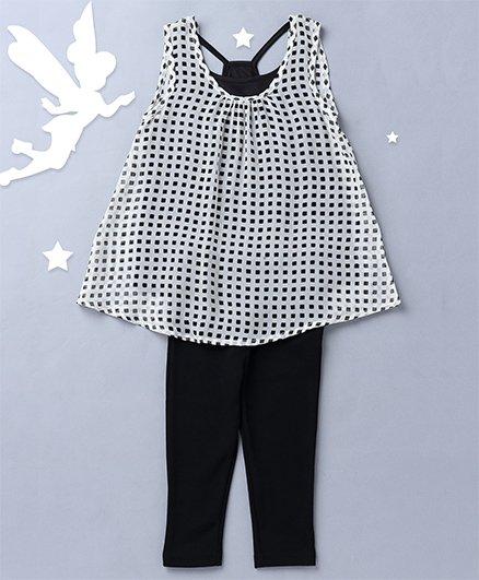 Soul Fairy Sleeveless Top With Knit Racer Back Inner And Leggings - Black & White