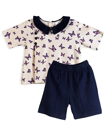 Chic Bambino Butterfly Design Top & Shorts Set - Beige & Navy Blue