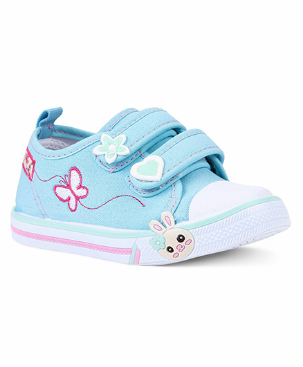 Cute Walk by Babyhug Canvas Shoes Floral Motif - Sky Blue White