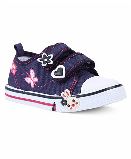 Cute Walk by Babyhug Canvas Shoes Floral Motif - Navy White