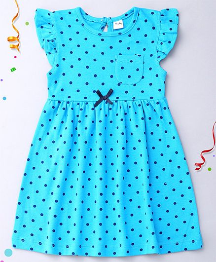 Playbeez Flutter Sleeves Dress Polka Dots Print - Blue