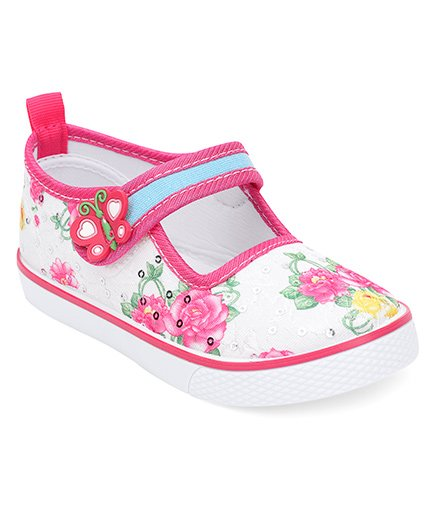 Cute Walk by Babyhug Canvas Shoes Butterfly Motif - White Pink