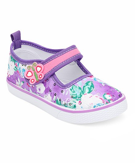 Cute Walk by Babyhug Canvas Shoes Butterfly Motif - Purple White