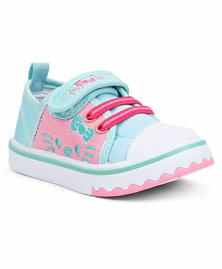 Cute Walk By Babyhug Casual Shoes With Kitty Design - Aqua