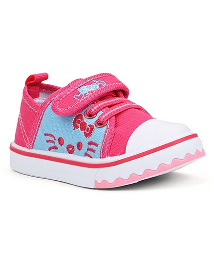 Cute Walk By Babyhug Casual Shoes With Kitty Design - Fuchsia