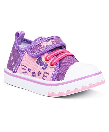 Cute Walk By Babyhug Casual Shoes With Kitty Design - Purple