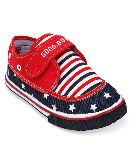 Cute Walk By Babyhug Casual Shoes With Star & Stripe Design - Red Navy