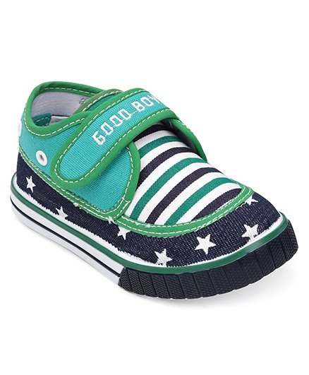 Cute Walk By Babyhug Casual Shoes With Star & Stripe Design - Green Navy